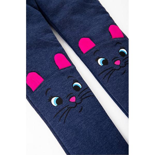 """20-118205 """"Meow"""" Лосины для девочки, 3-7 лет, т-синий"""
