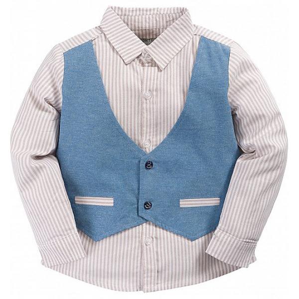 20-24602 Рубашка в полоску для мальчика, 3-7 лет, джинс
