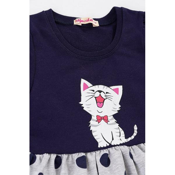 """20-107103 """"Котик"""" Платье для девочки, 2-6 лет, синяя ночь"""
