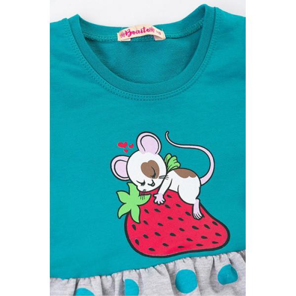 """20-107104 """"Мышонок"""" Платье для девочки, 2-6 лет, изумрудный"""