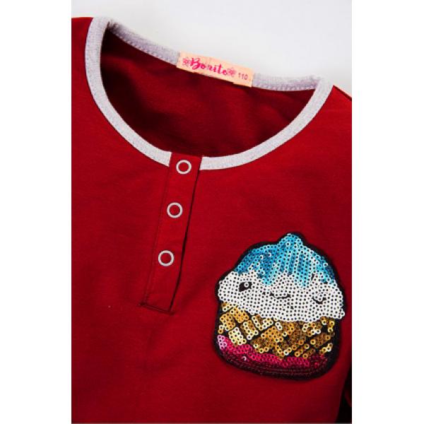 20-80604 Платье для девочки, 3-7 лет, бордовый
