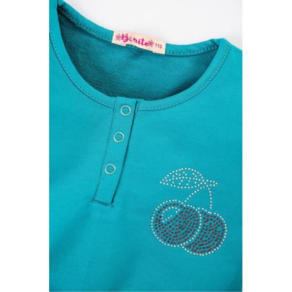 20-80605 Платье для девочки, 3-7 лет, изумрудный