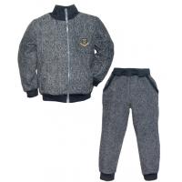 """44-258130 """"СПОРТ"""" костюм с курткой на молнии 2-5 лет, пике, темно-серый"""