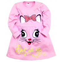 """05-0621 """"Kitty"""" Платье для девочки, интерлок, 3-7 лет, розовый"""