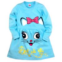 """05-0623 """"Kitty"""" Платье для девочки, интерлок, 3-7 лет, бирюзовый"""