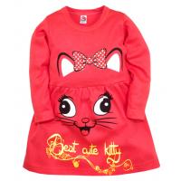 """05-0624 """"Kitty"""" Платье для девочки, интерлок, 3-7 лет, коралловый"""