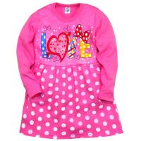 """05-0626 """"Love"""" Платье для девочки, интерлок, 3-7 лет, т-розовый"""