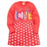 """05-0628 """"Love"""" Платье для девочки, интерлок, 3-7 лет, коралловый"""