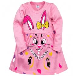 """05-0632 """"Rabbit"""" Платье для девочки, интерлок, 2-6 лет, розовый"""
