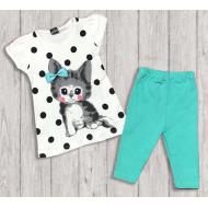 "05-14324 ""Little Kitten"" Комплект для девочки, бирюза"
