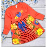"""06-06362 """"Цветочная поляна"""" Платье для девочки, 3-7 лет, коралл"""