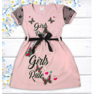 """47-06370 """"Girls Rule"""" Платье для девочки, 2-5 лет, пепельная роза"""