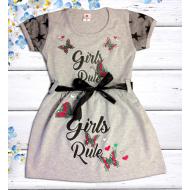 """47-06371 """"Girls Rule"""" Платье для девочки, меланжевый"""