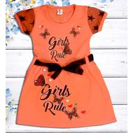 """47-06375 """"Girls Rule"""" Платье для девочки, 2-5 лет, персиковый"""