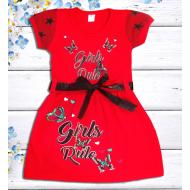 "47-06377 ""Girls Rule"" Платье для девочки, рубин"