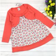 06-0614  Платье для девочки, 3-7 лет, коралловый