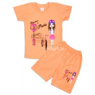 """09-142204 """"Свидание в Париже"""" комплект футболка-шорты, 1-4 года, персик"""