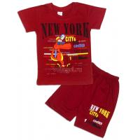 09-142105 Комплект футболка-шорты, 1-4 года, бордовый