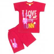 "09-142202 ""I Love My"" комплект футболка-шорты, 1-4 года, малиновый"
