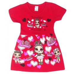 """09-37801 """"LOL"""" Платье для девочки, 3-7 лет, малиновый"""