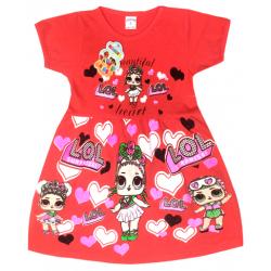 """09-37802 """"LOL"""" Платье для девочки, 3-7 лет, коралловый"""