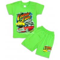 """09-582123 """"Гонки"""" комплект футболка-шорты, 5-8 лет, салатовый"""