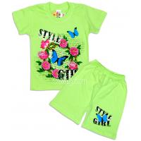 """09-582227 """"Стиль"""" комплект футболка-шорты, 5-8 лет, св-салатовый"""