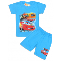 "09-582134 ""Машинки"" комплект футболка-шорты, 5-8 лет, бирюза"