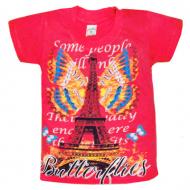 """09-580202 """"Paris"""" Футболка для девочки, 5-8 лет, рубин"""
