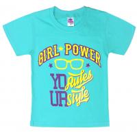 """91302-36 """"Girl Power"""" футболка для девочек 9-13 лет, мятный"""
