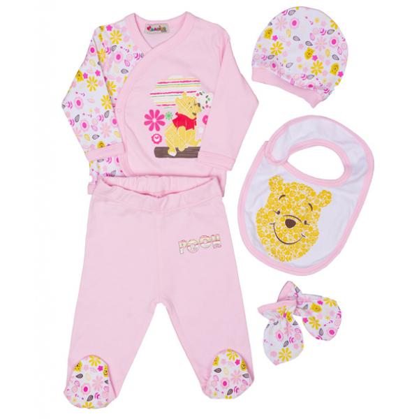 """10-1002 """"Happy Teddy"""" Подарочный набор для новорожденных, 5 предметов, розовый"""