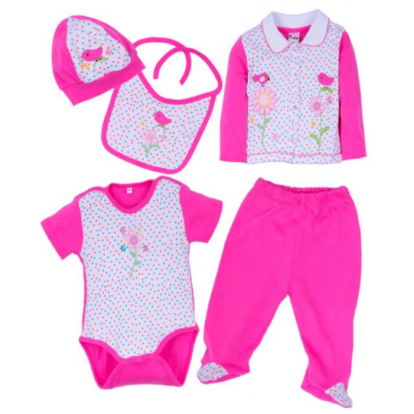 """10-1013 """"Droplet"""" Подарочный набор для новорожденных, 5 предметов, ярко-розовый"""