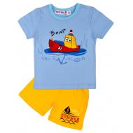 "10-142101 ""Boat"" Комплект для мальчика, 1-4 года, голубой\желтый"