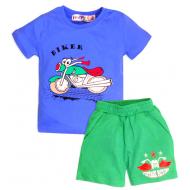 """10-142113 """"Biker""""  Костюм для мальчика, 1-4 года, синий\зеленый"""