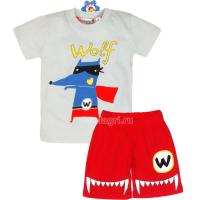 """10-142171 """"WOLF"""" Комплект для мальчика, 1-4 года, серый\красный"""