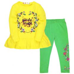 10-372233 Костюм для девочки, 3-7 лет, желтый\салатовый
