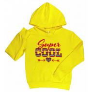 10-581202 Толстовка для девочки с капюшоном, 5-8 лет, желтый