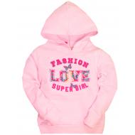 10-581205 Толстовка для девочки с капюшоном, 5-8 лет, св-розовый