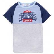 10-7120201 Футболка для мальчика, 7-12 лет, меланж, серый, молоко
