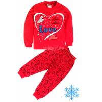 """10-14824201 """"LOVE"""" Пижама с начесом, 1-4 года"""