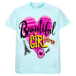"""11-10130207 """"Beautiful"""" футболка для девочек, 10-13 лет, ментол"""