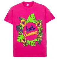 """11-10130208 """"HELLO"""" футболка для девочек, 10-13 лет, малиновый"""