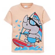 """11-250107 """"Funny surfer"""" Футболка для мальчика, 2-5 лет, бежевый"""