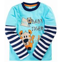 """11-141141 """"BABY TIGER"""" Лонгслив для мальчика, 1-4 года, бирюзовый"""