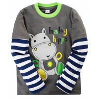 "11-141142 ""BABY HIPPO"" Лонгслив для мальчика, 1-4 года, серый"