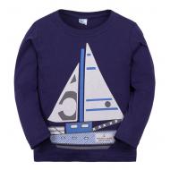 """11-141150 """"Кораблик"""" Лонгслив для мальчика, 1-4 года, синий"""
