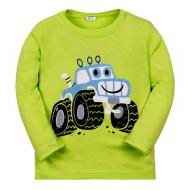 """11-141151 """"Трактор"""" Лонгслив для мальчика, 1-4 года, фисташка"""