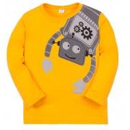 """11-141152 """"Робот"""" Лонгслив для мальчика, 1-4 года, охра"""