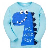 """11-141153 """"Динозаврик"""" Лонгслив для мальчика, 1-4 года, голубой"""