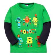 """11-141157 """"Робот"""" Лонгслив для мальчика, 1-4 года, зеленый"""